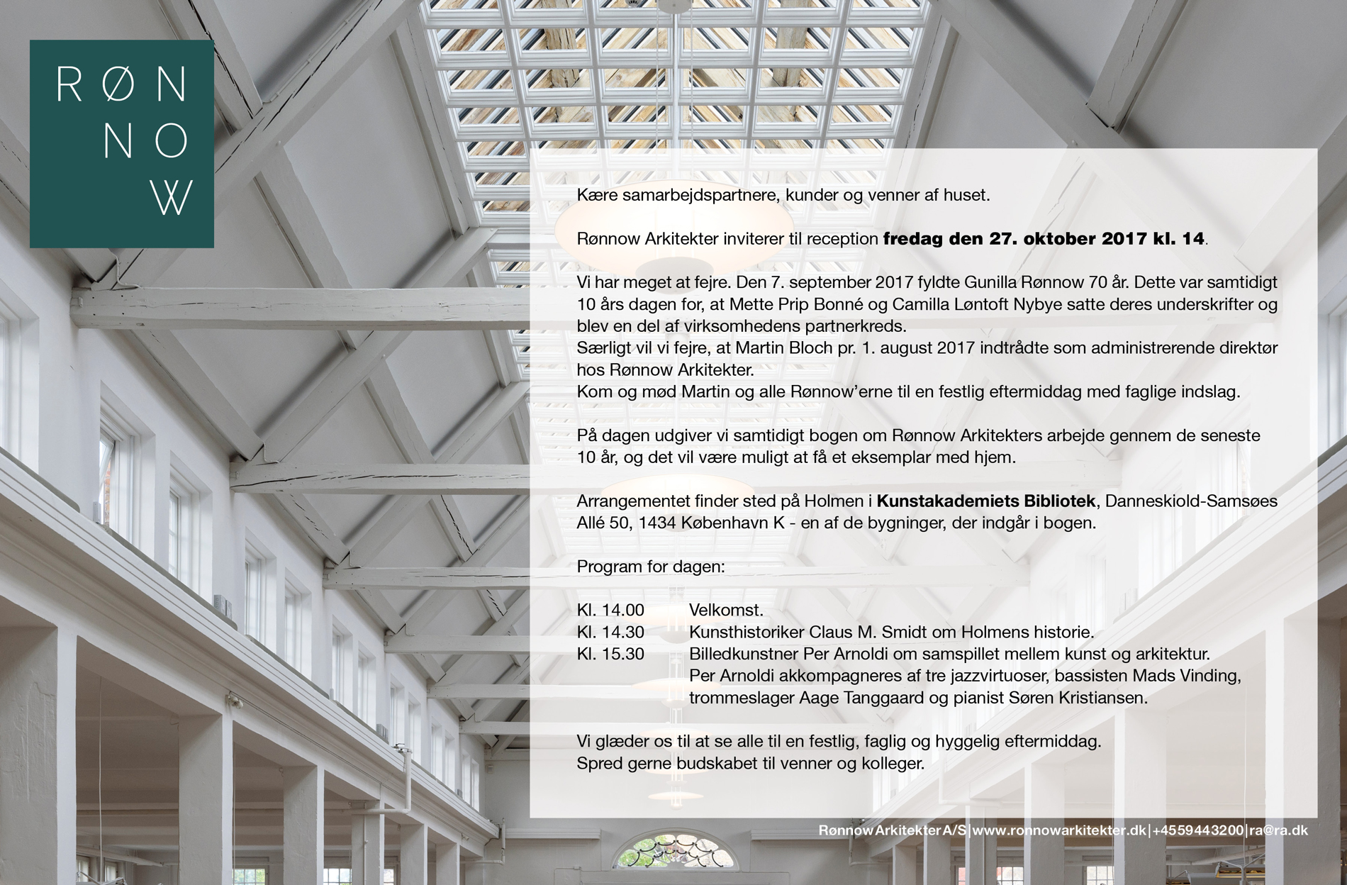 cb7c9d17cb3 Rønnow Arkitekter inviterer til reception fredag den 27. oktober 2017 kl.  14.
