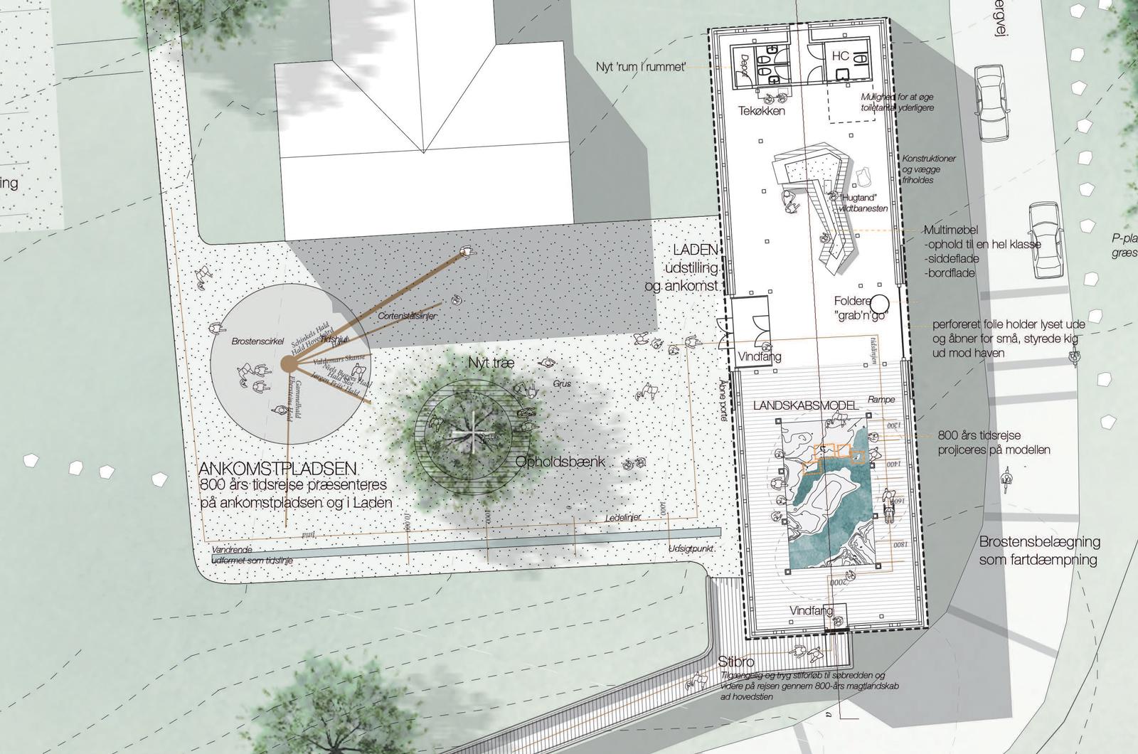 Laden, plan. Illustration af Rønnow Arkitekter og Møller & Grønborg